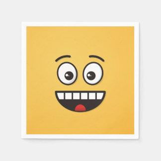 Serviettes En Papier Visage de sourire avec la bouche ouverte