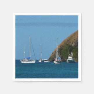 Serviettes En Papier Voiliers dans le nautique blanc et bleu de baie