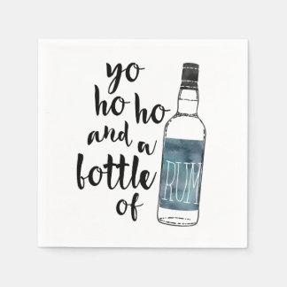 Serviettes En Papier Yo Ho Ho et une bouteille de pirate de rhum