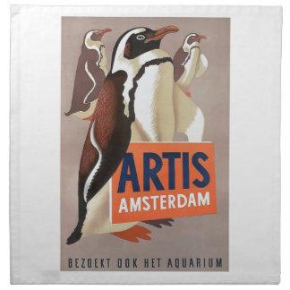 Serviettes En Tissus Affiche 1947 de pingouins d'Amsterdam de zoo