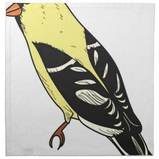 Serviettes En Tissus Art américain d'oiseau de chardonneret