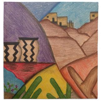 Serviettes En Tissus Art populaire de collage de sud-ouest de danse de