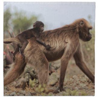 Serviettes En Tissus Babouin femelle de gelada avec un bébé
