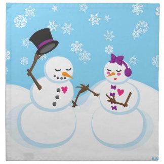 Serviettes En Tissus Bonhomme de neige et Snowgirl Romance