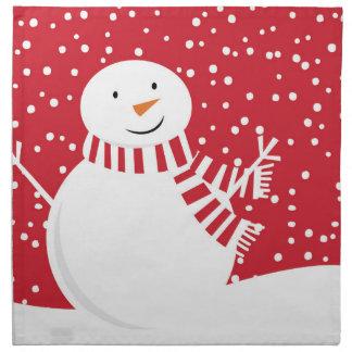 Serviettes En Tissus bonhomme de neige rouge et blanc contemporain