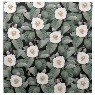 Serviettes En Tissus Camélia blanc sur le motif noir