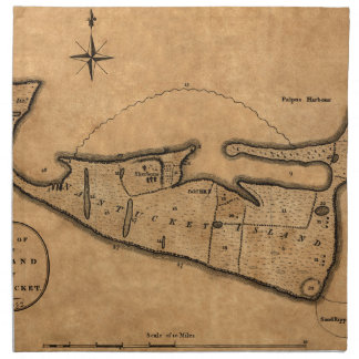 Serviettes En Tissus Carte de Nantucket 1782