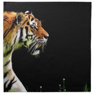 Serviettes En Tissus Chat dangereux de fourrure prédatrice de tigre