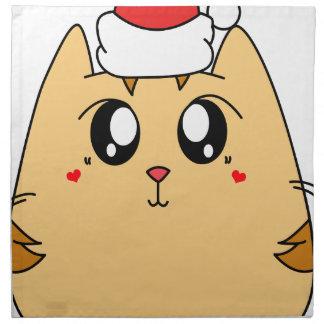 Serviettes En Tissus Chat mignon de Kitty de Noël