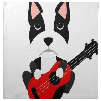 Serviettes En Tissus Chien de Boston Terrier d'amusement jouant la