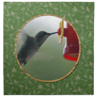 Serviettes En Tissus Colibri au conducteur dans le rond, oiseaux sur