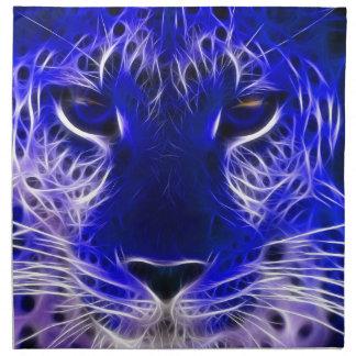 Serviettes En Tissus conception bleue de fractale de guépard