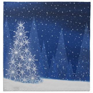 Serviettes En Tissus Conception de vacances d'arbre de Noël de nuit de