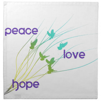 Serviettes En Tissus Conception d'espoir d'amour de paix