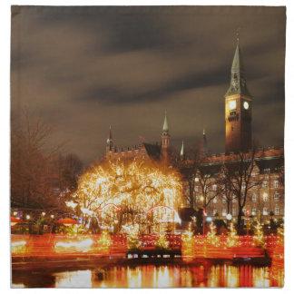 Serviettes En Tissus Copenhague, Danemark la nuit