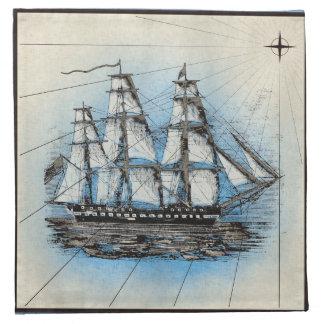 Serviettes En Tissus Copie marine de bateau noir avec le cadre bleu