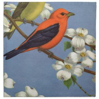 Serviettes En Tissus Copie vintage d'oiseau de Tanager