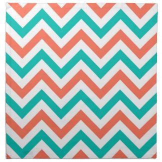 Serviettes En Tissus Corail, Teal, grand motif de zigzag blanc de