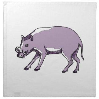 Serviettes En Tissus Dessin de porc de Babirusa ou de cerfs communs