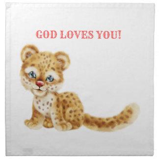 Serviettes En Tissus Dieu vous aime bébé sauvage de guépard de jungle