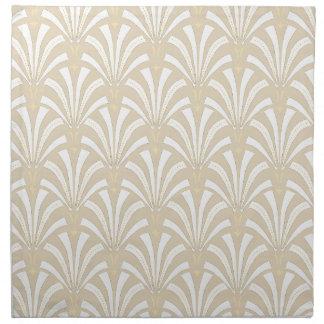 Serviettes En Tissus fans blanches et beige d'art déco d'élégance