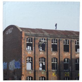 Serviettes En Tissus Fille sur le toit - endroits perdus