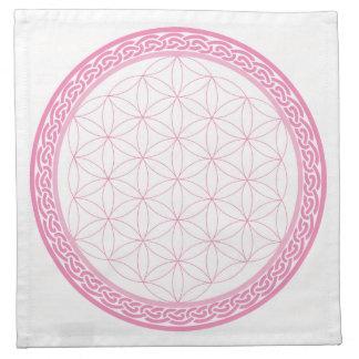 Serviettes En Tissus Fleur celtique rose de la grille en cristal de la