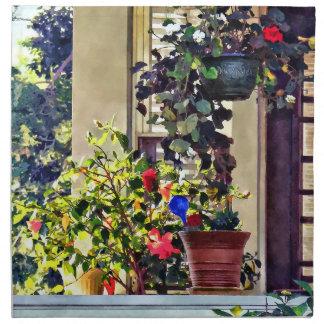 Serviettes En Tissus Fleurs sur le porche