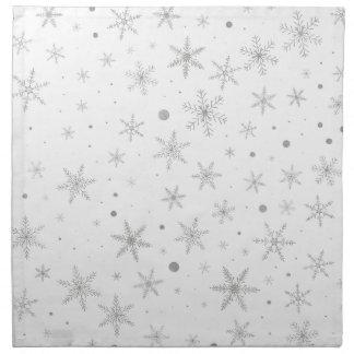Serviettes En Tissus Flocon de neige de scintillement - gris et Blanc