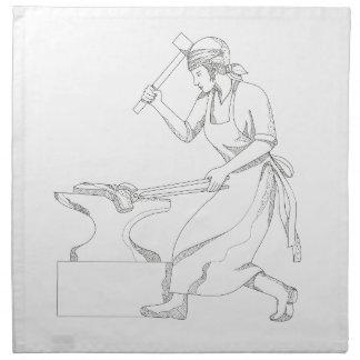 Serviettes En Tissus Forgeron féminin à l'art de griffonnage de travail