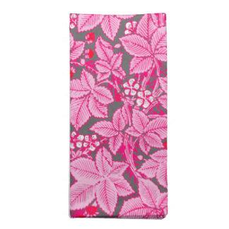 Serviettes En Tissus Fraises et feuille de Nouveau d'art, rose et gris