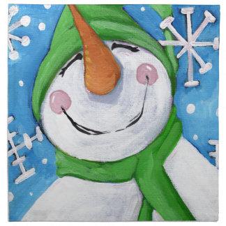 Serviettes En Tissus Givré le bonhomme de neige heureux