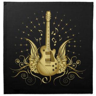 Serviettes En Tissus Guitare à ailes d'or