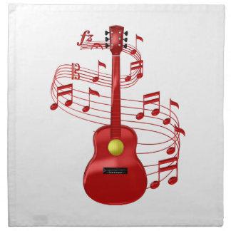 Serviettes En Tissus Guitare acoustique rouge avec des notes de musique
