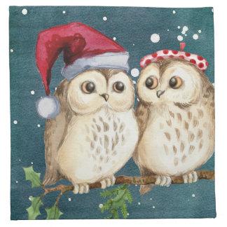 Serviettes En Tissus Hiboux de Noël sur la branche la nuit