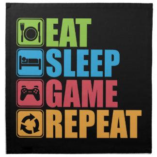 Serviettes En Tissus Jeu - mangez, dormez, jeu, répétition - Gamer,