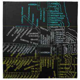 Serviettes En Tissus La carte de souterrain de Chicago avec le train