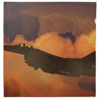 Serviettes En Tissus La lune de ciel nocturne de combattant d'avion