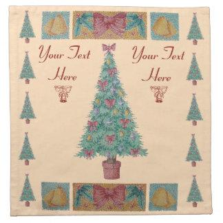 Serviettes En Tissus L'arbre de Noël avec le rouge de décorations