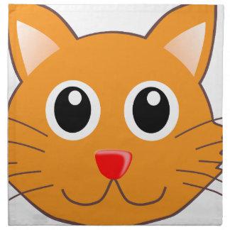 Serviettes En Tissus Le chat orange au nez rouge