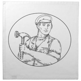 Serviettes En Tissus Ligne mono de marteau vintage de charpentier