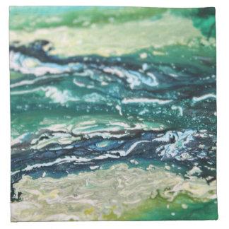 Serviettes En Tissus Lignes de peinture blanches d'abrégé sur turquoise