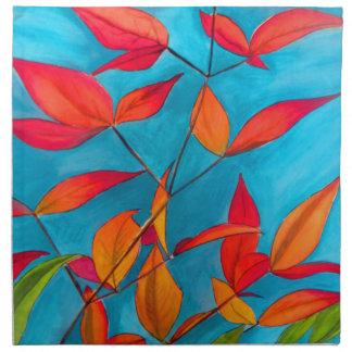 Serviettes En Tissus L'orange laisse à automne l'art pour aquarelle