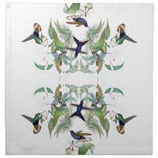 Serviettes En Tissus L'orchidée d'oiseaux de colibri fleurit des