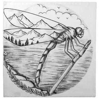 Serviettes En Tissus Montagne de libellule à l'intérieur de tatouage
