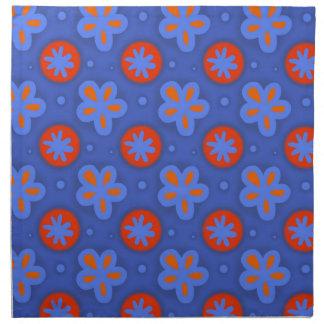Serviettes En Tissus motif floral bleu