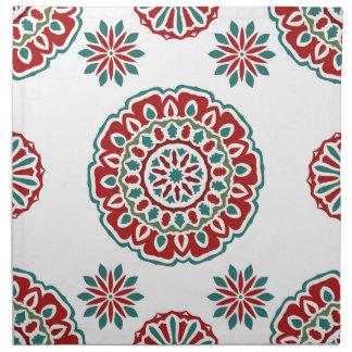 Serviettes En Tissus Motif floral de rétro abrégé sur coloré bohémien