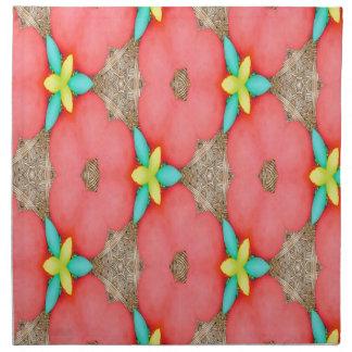 Serviettes En Tissus Motif floral rose avec le basketweave jaune