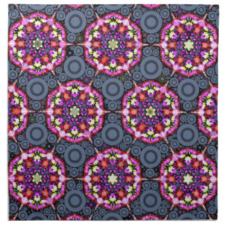 Serviettes En Tissus Motifs floraux et cercles gris