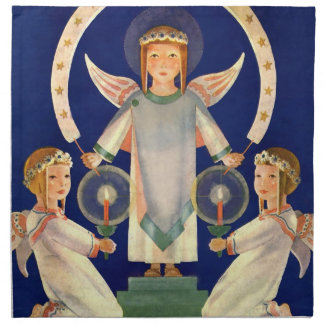 Serviettes En Tissus Noël vintage, anges de Père Noël Lucia de